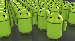 Huge amount of android figures - stock illustration
