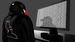 Hacker with black coat and baseball cap spying - stock illustration
