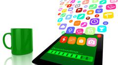 Downloading applications to tablet Stock Illustration