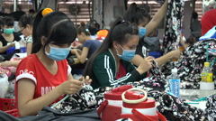 Asia, Vietnam economy, women work in textile company, occupation, salary, income Stock Footage