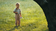 Boy smiling on nature Stock Footage