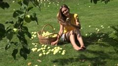 Gardener pick apple fruit Stock Footage