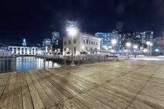 Wood floor with cityscape of San Francisco at night Kuvituskuvat