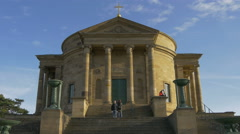 Going down the stairs in front of The Sepulchral Chapel in Stuttgart, Germany Stock Footage