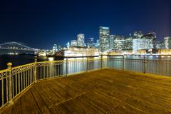 Wood floor with cityscape of San Francisco at night Stock Photos