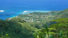 View village of Fare Huahine Nui French Polynesia - stock photo