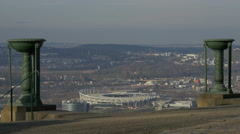 Mercedez-Benz Arena seen from Württemberg Hill in Stuttgart, Germany Stock Footage