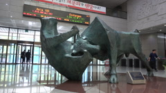 South Korea stock exchange, bull bear statue, symbolic value, economy, Asia Stock Footage