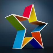 Multi colored star shape isolated on black background - stock illustration