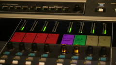 Close up footage of music mixer desk table in recording studio, Full HD Stock Footage