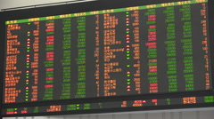Live share prices, commodities, securities exchange, ticker board, South Korea - stock footage