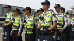 Police officers law enforcement commander cops crime South Korea Asia Stock Footage