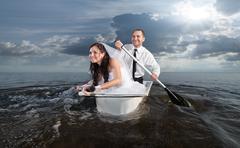 The bride and groom on their honeymoon Stock Photos