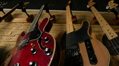 View of various electric guitars, Full HD Stock Footage