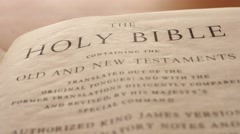 Closeup dolly shot of the Holy Bible Stock Footage