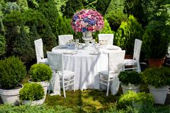 Table setting at a luxury wedding reception - stock photo