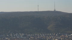 Stuttgart's hill with signal towers seen from Württemberg Hill in Germany Stock Footage