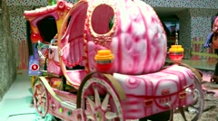 Colorful cartoon fairy train in the children play center - stock footage