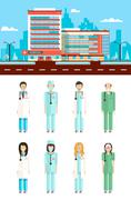 Clinic with doctors - stock illustration