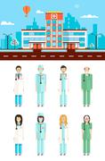 Hospital with doctors - stock illustration
