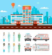 Street with hospital - stock illustration