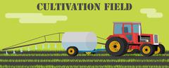 Tractor handles field of weeds and parasites. Stock Illustration