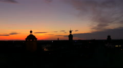 Amazing sunset over the city of Bruchsal Stock Footage