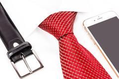 tie knotted double Windsor and handy - stock photo