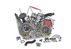 Many images of spare parts - stock illustration