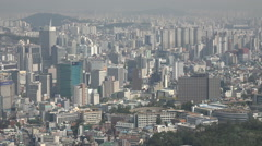 Apartment buildings, office towers, flats, sprawling city of Seoul, South Korea Stock Footage
