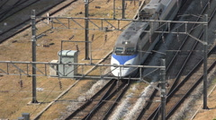 South Korea infrastructure, transportation, high speed intercity train Stock Footage