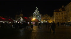 Amazing night view of the Christmas tree at the Christmas Market in Prague - stock footage