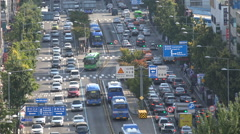 Public transport system in Seoul, special bus lane, South Korea travel Stock Footage
