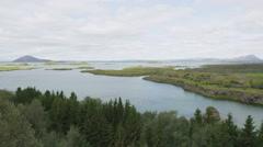 Iceland nature, Lake Myvatn Icelandic landscape Stock Footage