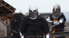 Medieval knights and their rivals waiting and preparing for the fierce battle - stock footage