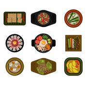 Dishes in Plates Top View. Vector Illustration Set Stock Illustration