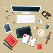 Workplace Concept. Flat Design - stock illustration