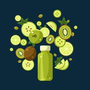 Green Smoothie Recipe. Illustration of Ingredients - stock illustration