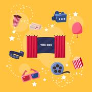 Cinema Flat Design Elements and Icons Stock Illustration
