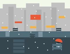 Seamless Cartoon City Landscape, Vector Illustration Stock Illustration