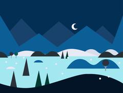 Seamless Cartoon Nature Landscape at Night, Vector Illustration - stock illustration