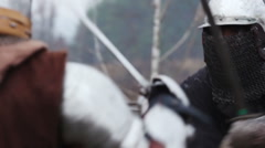 The Middle Ages, bloody and terrible fight between two strong and cruel knights - stock footage
