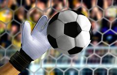 Goal keeper hand stopping a fast ball Kuvituskuvat
