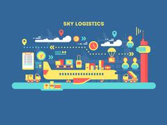 Sky logistics design flat Stock Illustration