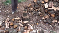 Chopping woods for furnace Stock Footage