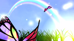 Butterflies, rainbow and green grass on blue sky background. Stock Footage