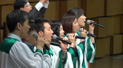 Asian gospel church choir singing passionate songs, South Korea - stock footage