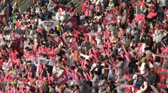 Baseball fans supporting their team in Seoul, South Korea - stock footage