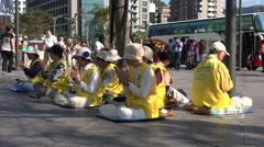 Taiwan China contrast, conflict, politics, Falun Gong members, mainland tourists Stock Footage