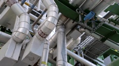 Large pipes at a factory Stock Footage